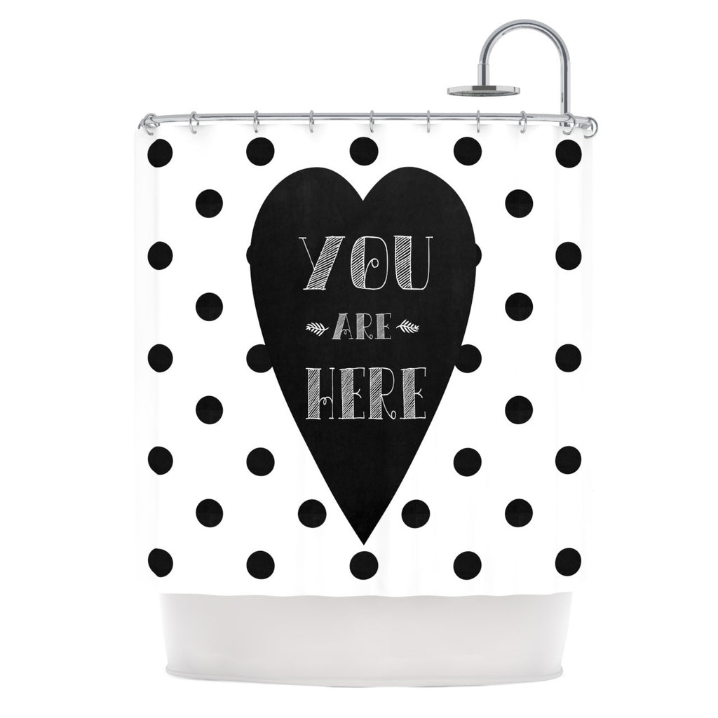 "Skye Zambrana ""You Are Here"" Black White Shower Curtain - KESS InHouse"