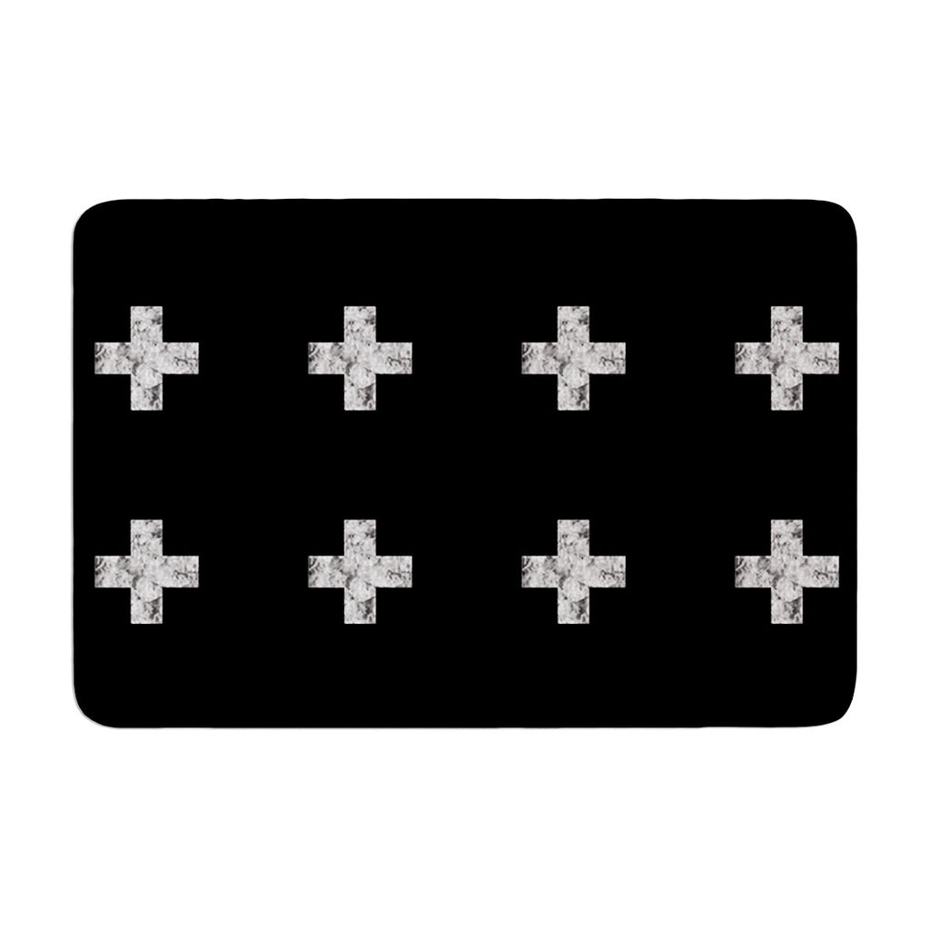 "Skye Zambrana ""Swiss Cross Black"" Simple Dark Memory Foam Bath Mat - KESS InHouse"