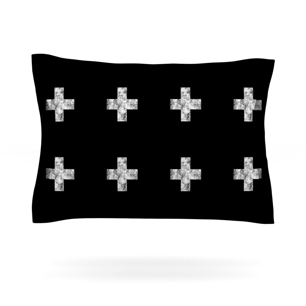 "Skye Zambrana ""Swiss Cross Black"" Simple Dark Pillow Sham - KESS InHouse"
