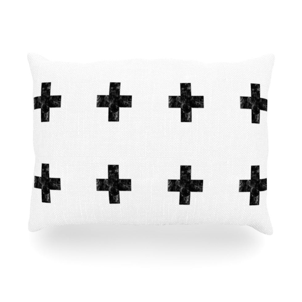 "Skye Zambrana ""Swiss Cross White"" Simple Light Oblong Pillow - KESS InHouse"