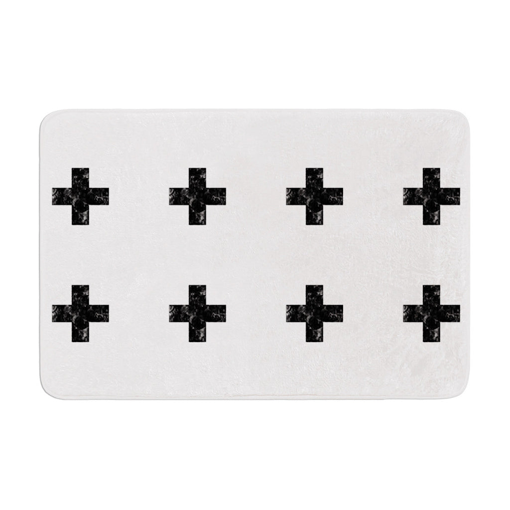 "Skye Zambrana ""Swiss Cross White"" Simple Light Memory Foam Bath Mat - KESS InHouse"