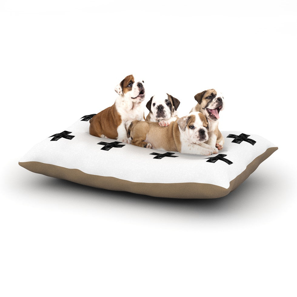 "Skye Zambrana ""Swiss Cross White"" Simple Light Dog Bed - KESS InHouse  - 1"