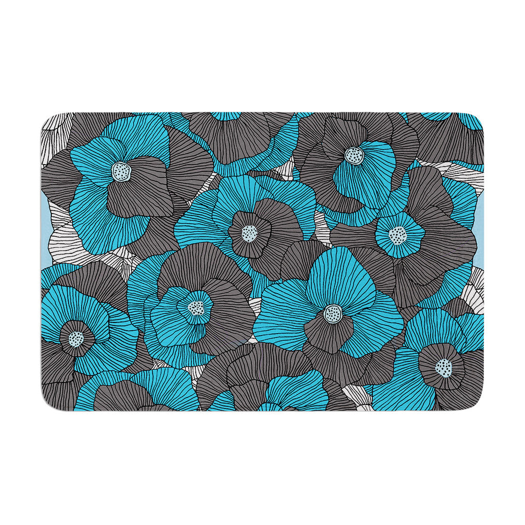 "Skye Zambrana ""In Bloom"" Blue Gray Memory Foam Bath Mat - KESS InHouse"