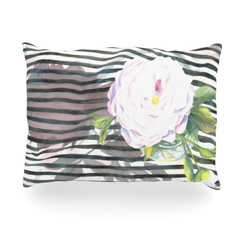 "S. Seema Z ""Peony n White Black"" Oblong Pillow - KESS InHouse"