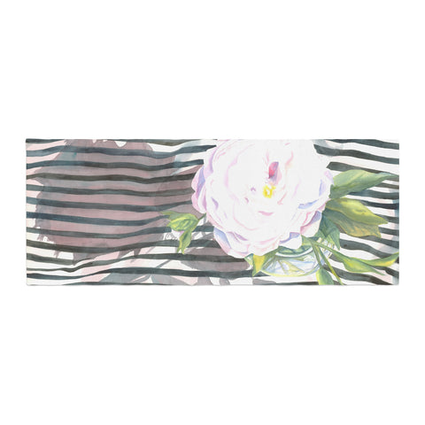 "S. Seema Z ""Peony n White Black"" Bed Runner - KESS InHouse"