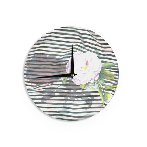 "S. Seema Z ""Peony n White Black"" Wall Clock - KESS InHouse"
