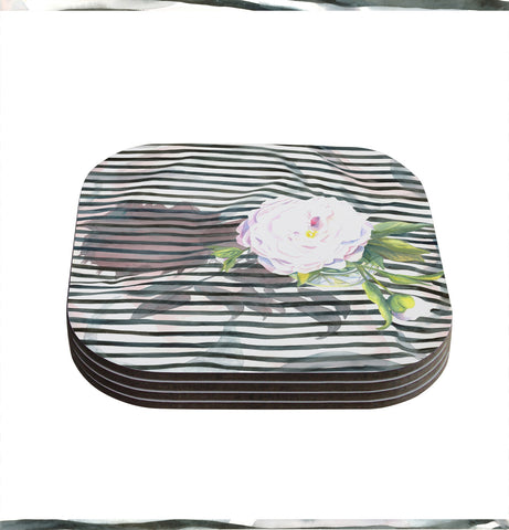 "S. Seema Z ""Peony n White Black"" Coasters (Set of 4)"