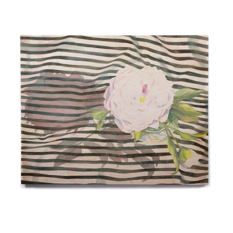 "S. Seema Z ""Peony n White Black"" Birchwood Wall Art - KESS InHouse  - 1"