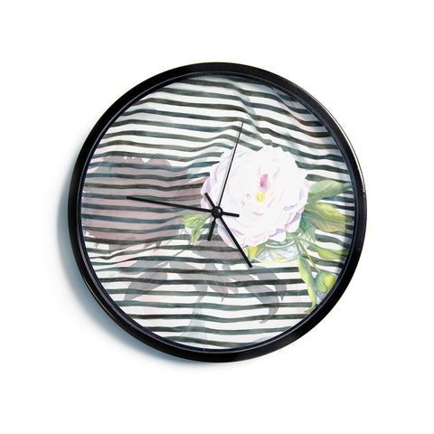 "S. Seema Z ""Peony n White Black""  Modern Wall Clock"
