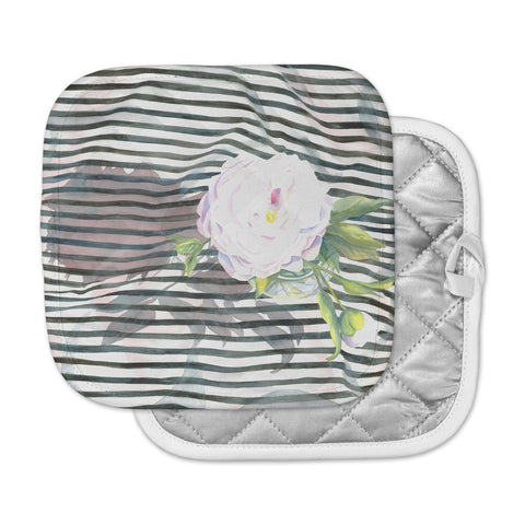 "S. Seema Z ""Peony n White Black"" Pot Holder"