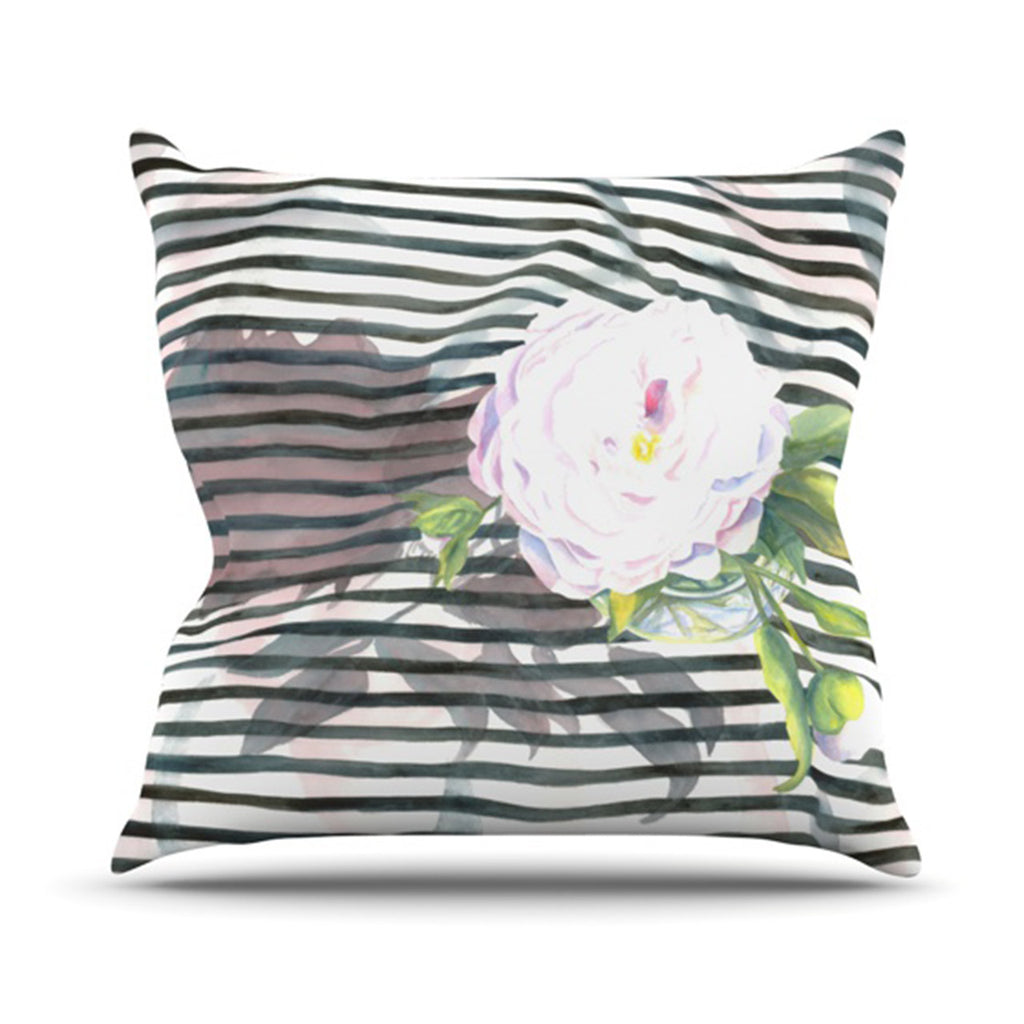 "S. Seema Z ""Peony n White Black"" Throw Pillow - KESS InHouse  - 1"