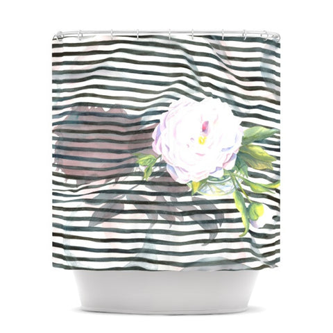 "S. Seema Z ""Peony n White Black"" Shower Curtain - KESS InHouse"
