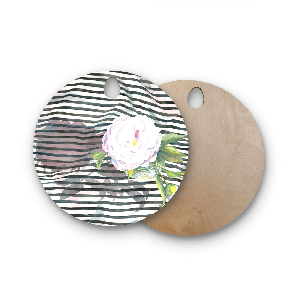 "S. Seema Z ""Peony n White Black"" Round Wooden Cutting Board"