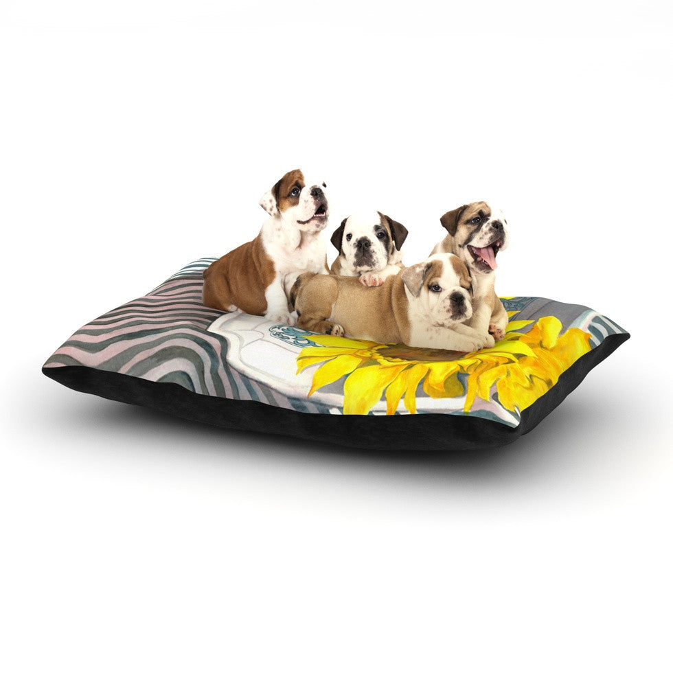 "S. Seema Z ""Finall Sunflower"" Yellow Flower Dog Bed - KESS InHouse  - 1"