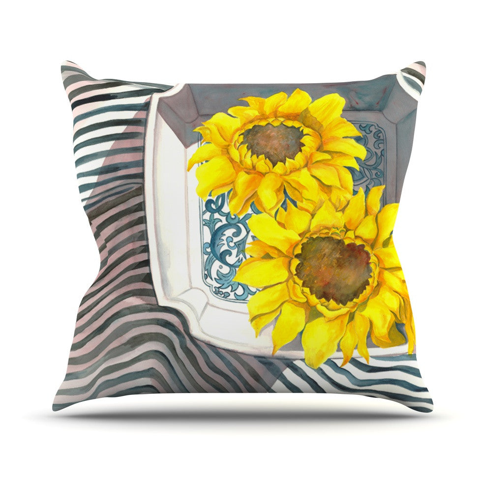 "S. Seema Z ""Finall Sunflower"" Yellow Flower Outdoor Throw Pillow - KESS InHouse  - 1"