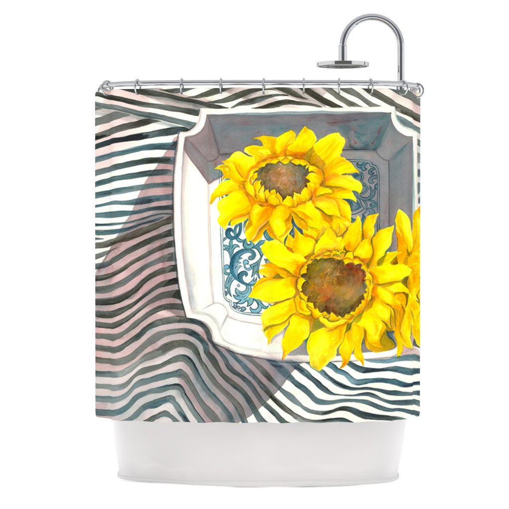 "S. Seema Z ""Finall Sunflower"" Yellow Flower Shower Curtain - KESS InHouse"