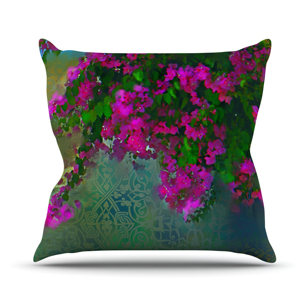 "S. Seema Z ""Khushbu"" Purple Green Outdoor Throw Pillow - KESS InHouse  - 1"