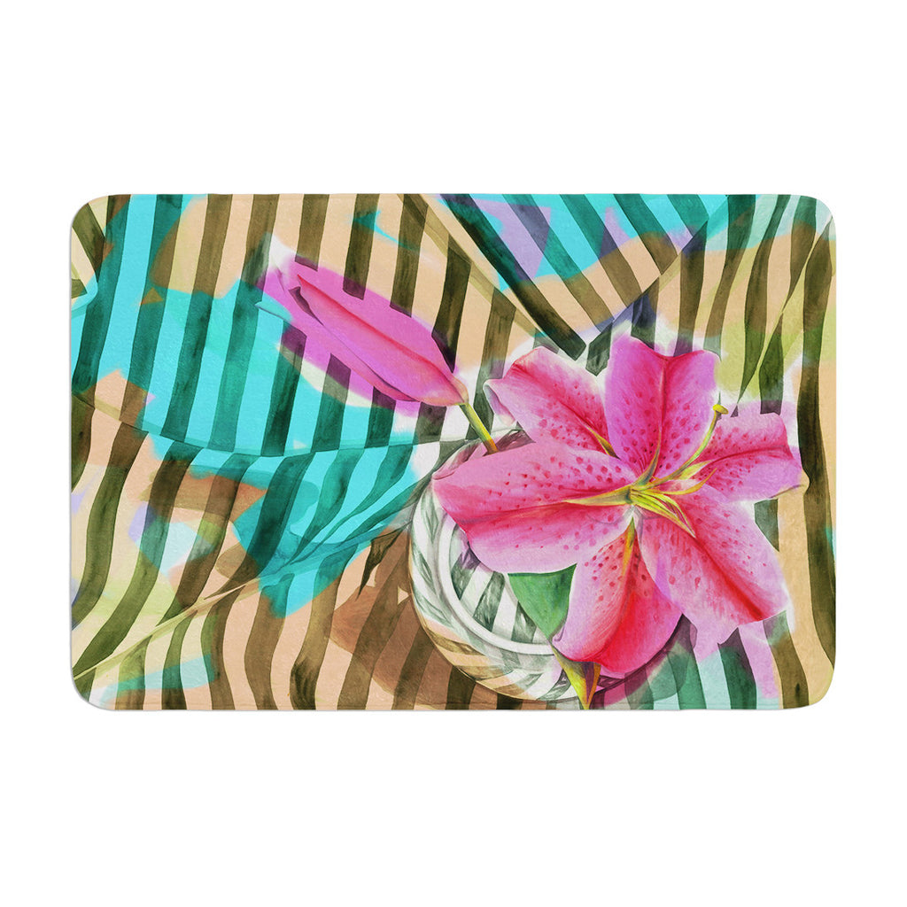 "S. Seema Z ""Lilly n Stripes"" Pink Orange Memory Foam Bath Mat - KESS InHouse"