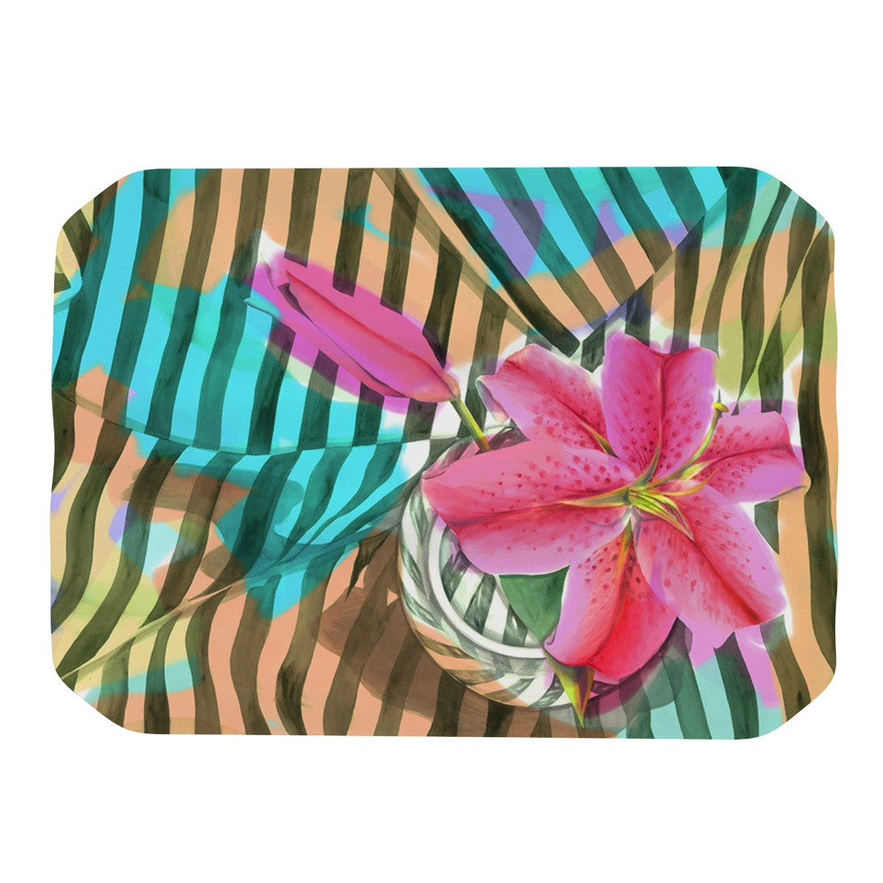 "S. Seema Z ""Lilly n Stripes"" Pink Orange Place Mat - KESS InHouse"