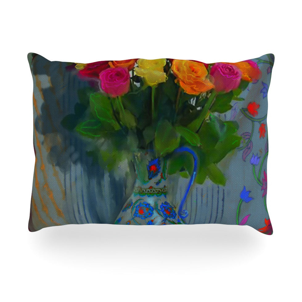 "S. Seema Z ""Spring Bouquet"" Orange Flowers Oblong Pillow - KESS InHouse"