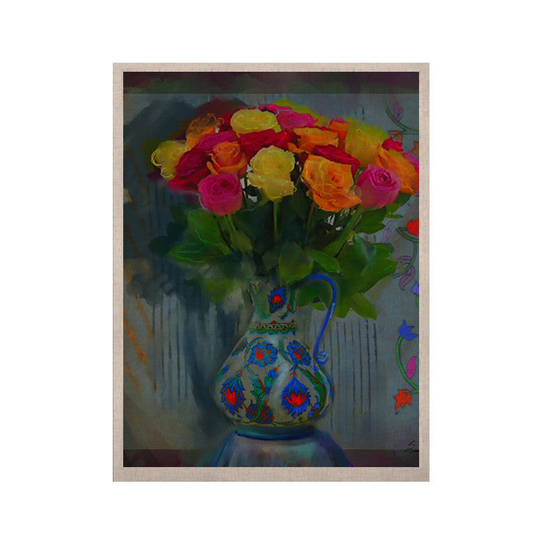 "S. Seema Z ""Spring Bouquet"" Orange Flowers KESS Naturals Canvas (Frame not Included) - KESS InHouse  - 1"
