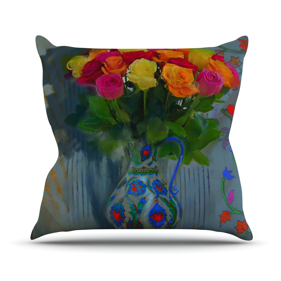 "S. Seema Z ""Spring Bouquet"" Orange Flowers Outdoor Throw Pillow - KESS InHouse  - 1"