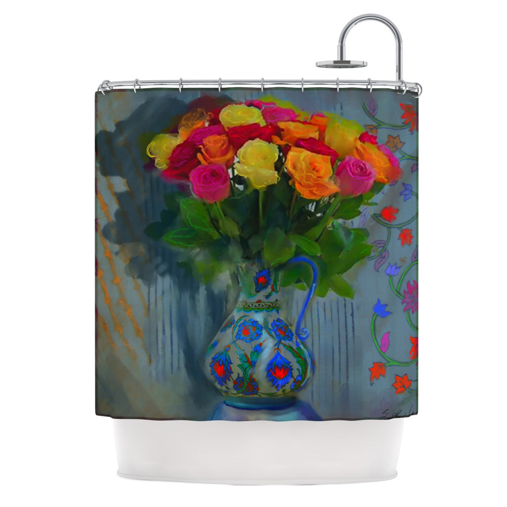 "S. Seema Z ""Spring Bouquet"" Orange Flowers Shower Curtain - KESS InHouse"
