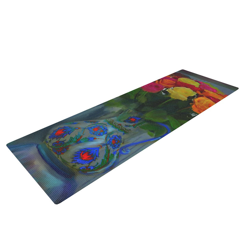 "S. Seema Z ""Spring Bouquet"" Orange Flowers Yoga Mat - KESS InHouse  - 1"