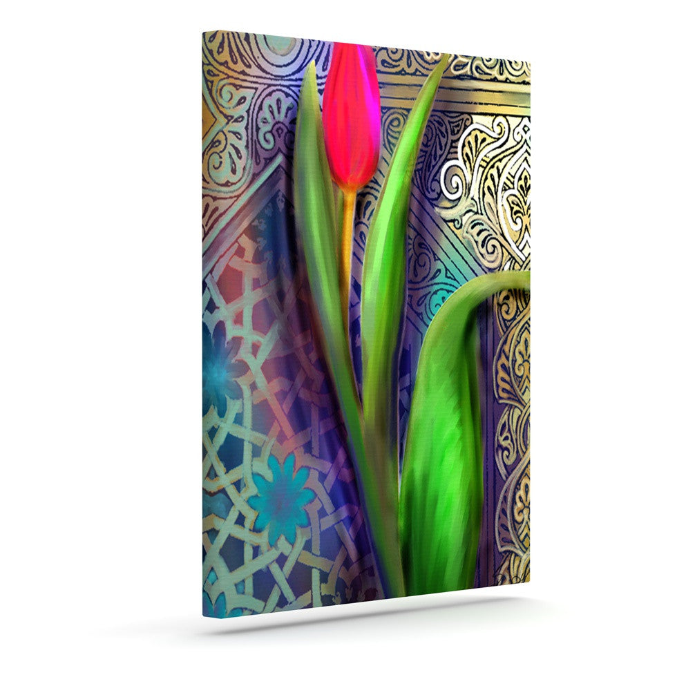 "S. Seema Z ""Arabesque Tulip"" Green Gold Outdoor Canvas Wall Art - KESS InHouse  - 1"