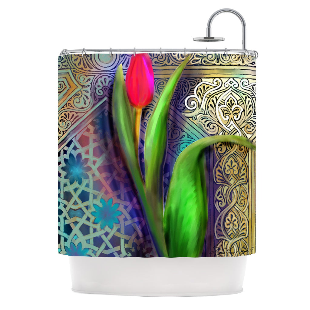 "S. Seema Z ""Arabesque Tulip"" Green Gold Shower Curtain - KESS InHouse"