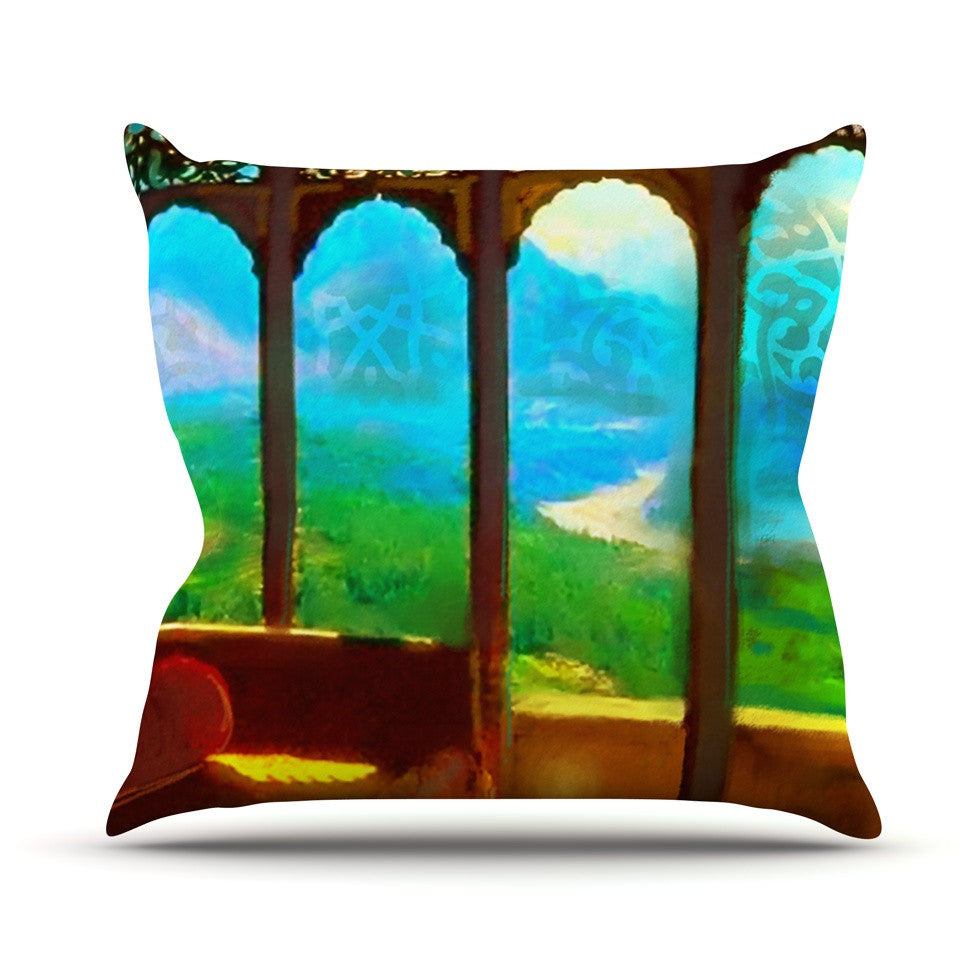 "S. Seema Z ""Mountain Retreat"" Blue Green Outdoor Throw Pillow - KESS InHouse  - 1"