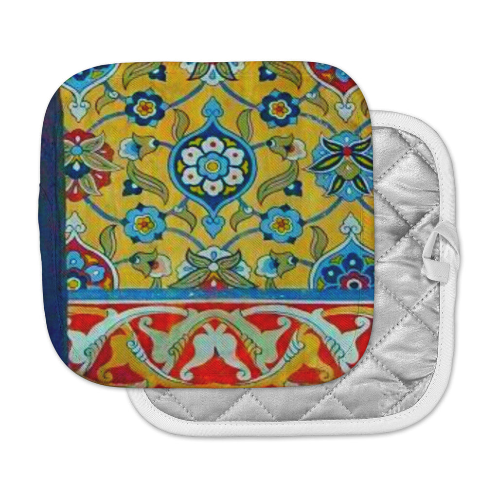 "S Seema Z ""PERSIAN MOOD"" Yellow Blue Pot Holder"