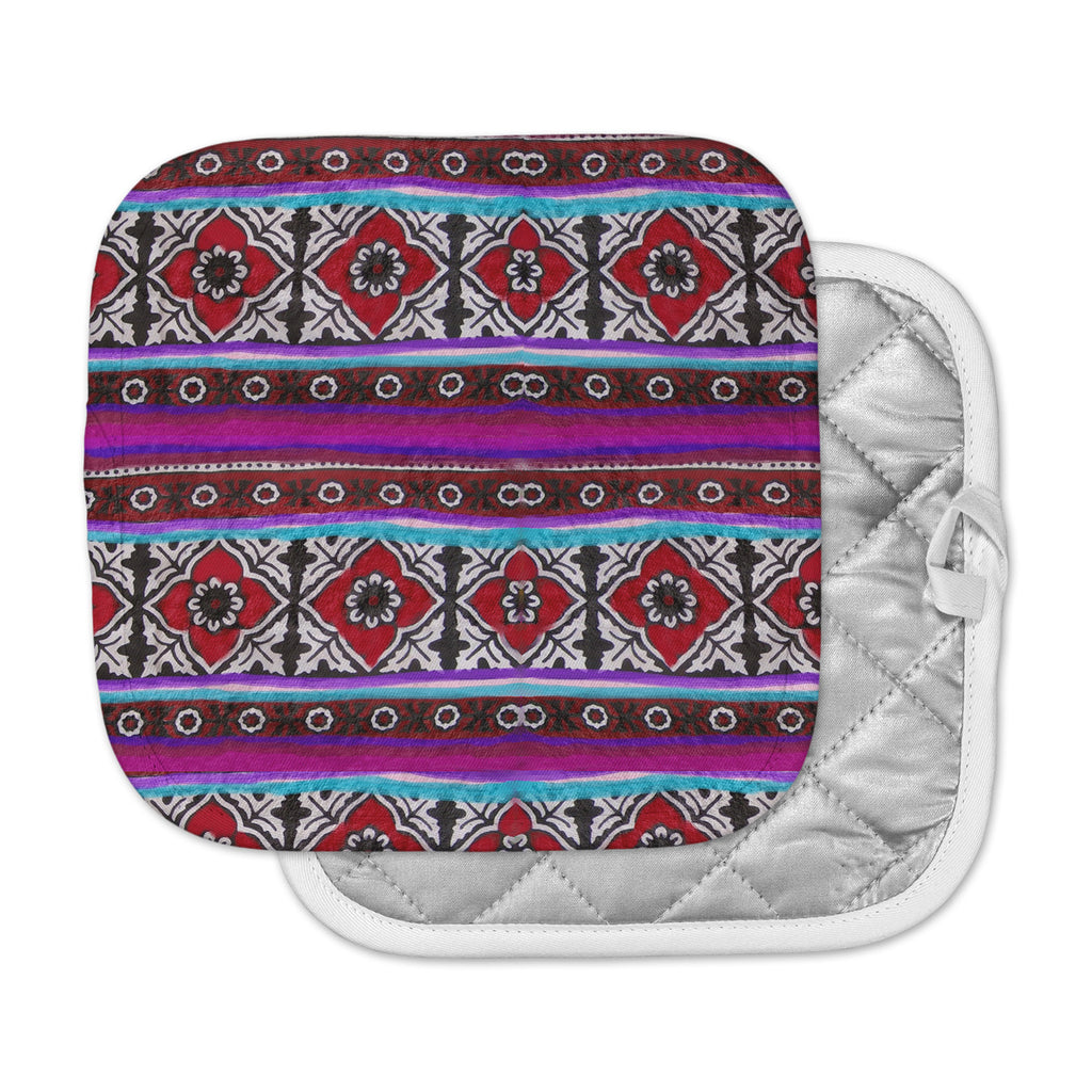"S Seema Z ""SINDHI AJRAK"" Purple Pattern Pot Holder"