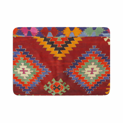 "S Seema Z ""TAPESTRY ETHNIC"" Red Pattern Memory Foam Bath Mat - Outlet Item - KESS InHouse"