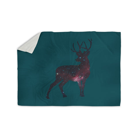 "Alias ""Deer In The Starlight"" Teal Pink Sherpa Blanket - KESS InHouse  - 1"