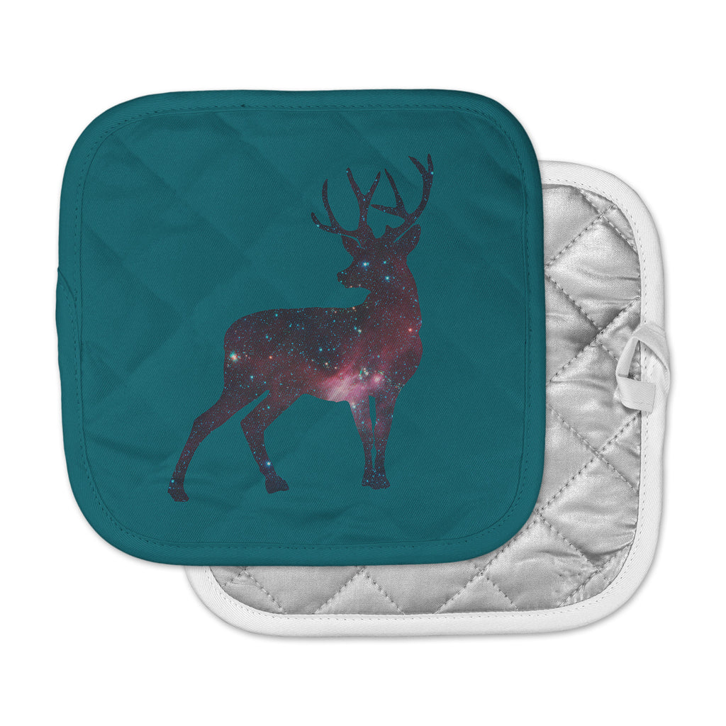 "Alias ""Deer In The Starlight"" Teal Pink Pot Holder"