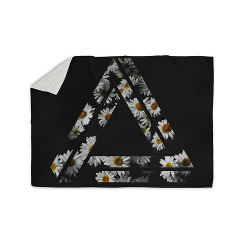 "Alias ""Impossible Daisy Chain"" Black Yellow Sherpa Blanket - KESS InHouse  - 1"