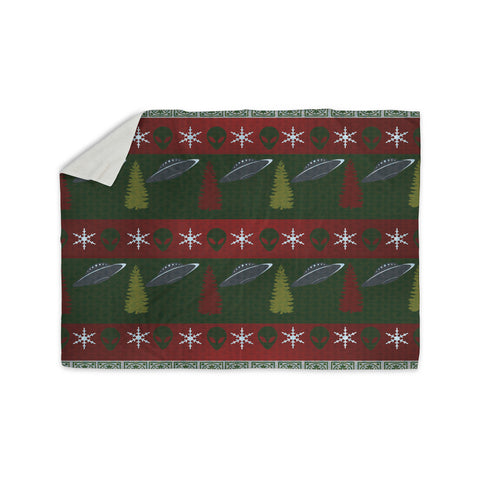 "Alias ""Xmas Files"" Green Red Sherpa Blanket - KESS InHouse  - 1"
