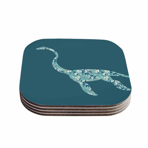 "Alias ""Nessie"" Teal White Coasters (Set of 4) - Outlet Item"