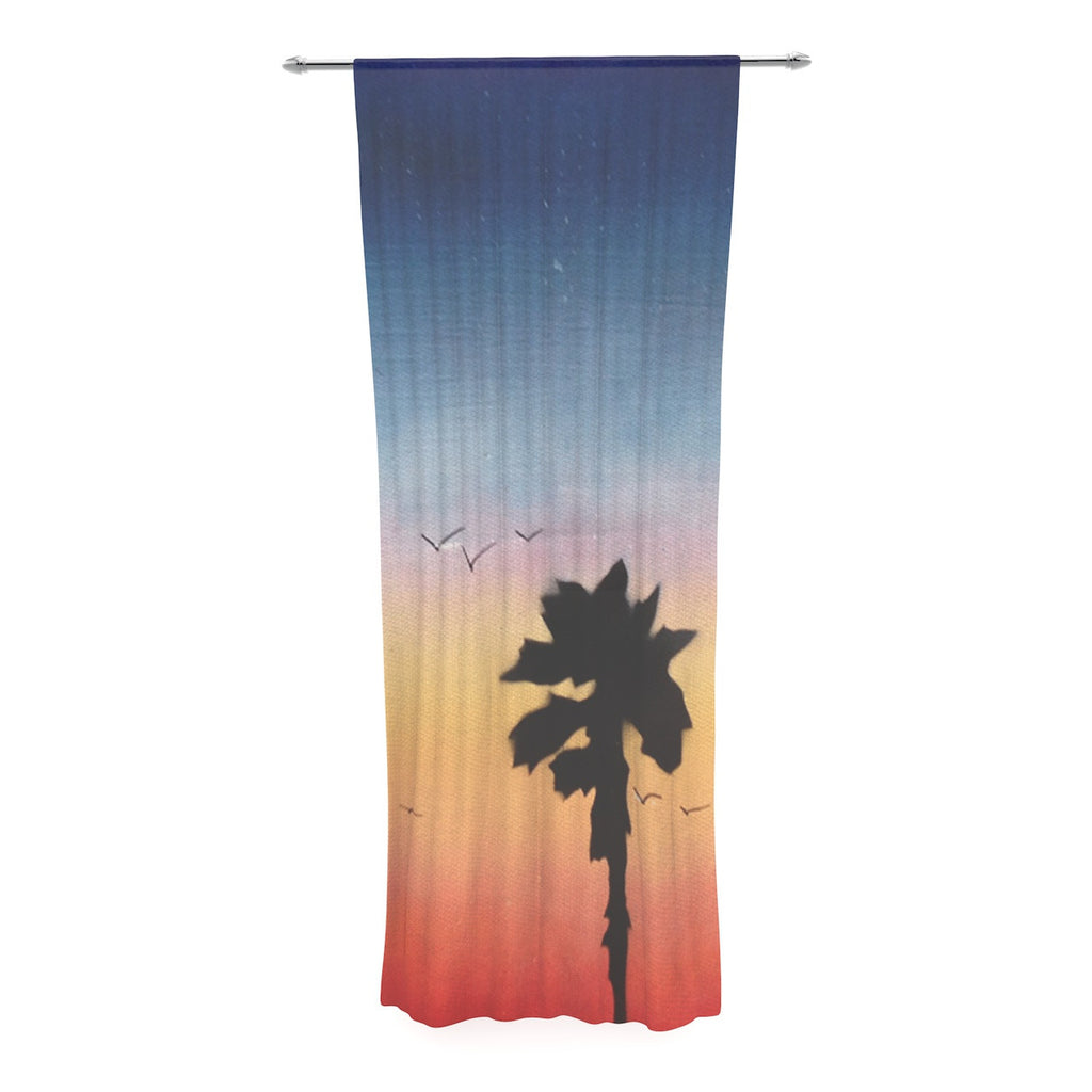 "Infinite Spray Art ""Carlsbad Sunset"" Coastal Painting Decorative Sheer Curtain - KESS InHouse  - 1"
