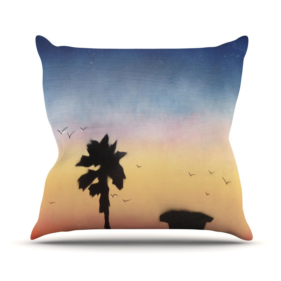 "Infinite Spray Art ""Carlsbad Sunset"" Coastal Painting Outdoor Throw Pillow - KESS InHouse  - 1"
