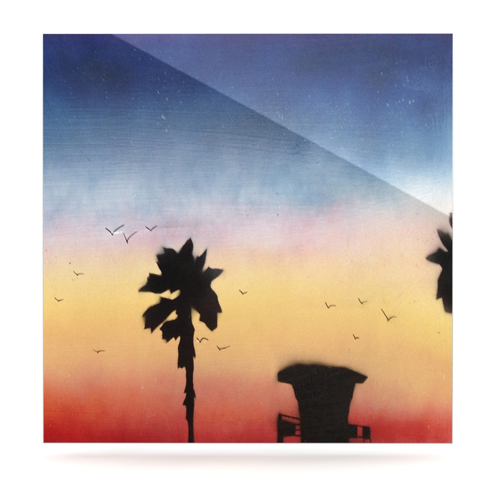 "Infinite Spray Art ""Carlsbad Sunset"" Coastal Painting Luxe Square Panel - KESS InHouse  - 1"