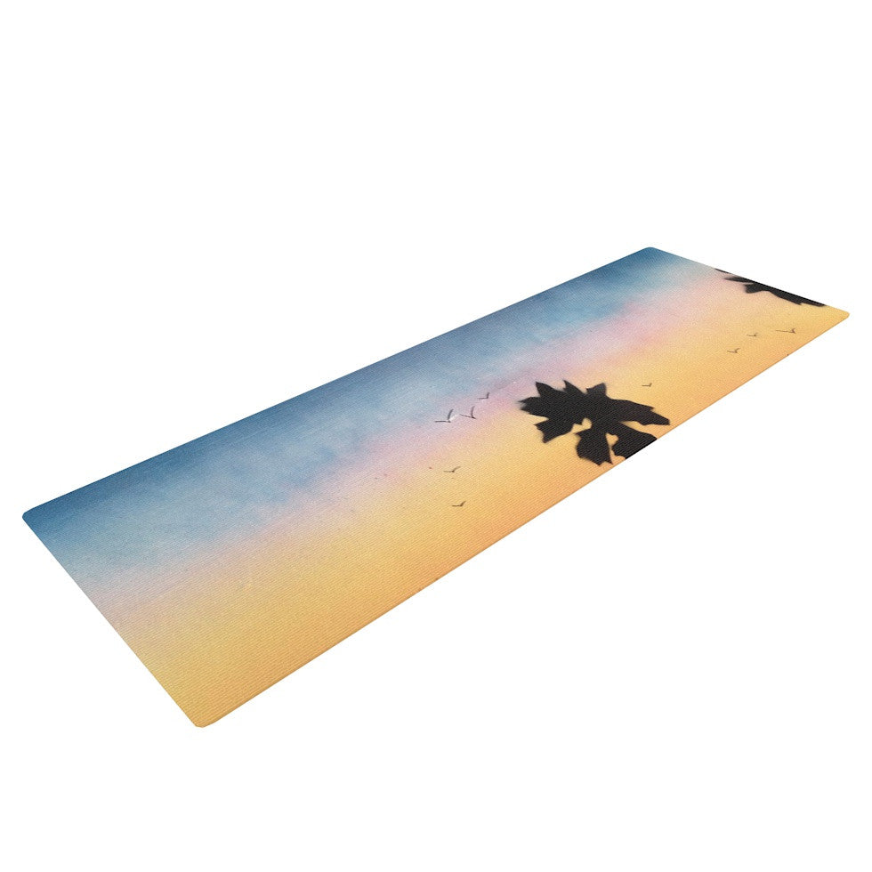 "Infinite Spray Art ""Carlsbad Sunset"" Coastal Painting Yoga Mat - KESS InHouse  - 1"
