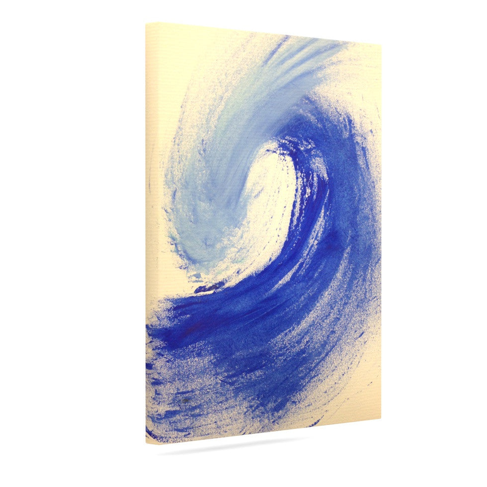 "Infinite Spray Art ""Waveology"" Tan Blue Canvas Art - KESS InHouse  - 1"