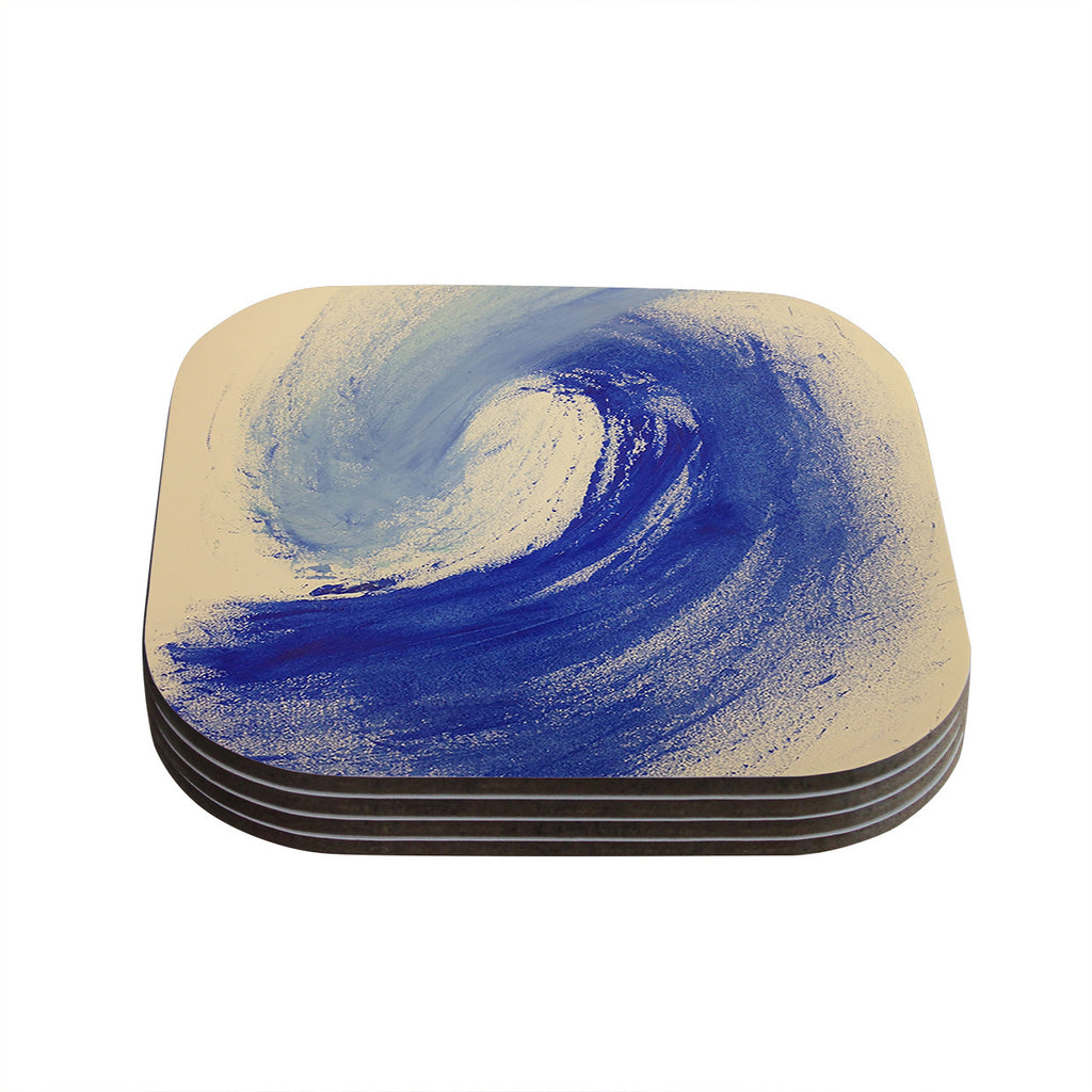"Infinite Spray Art ""Waveology"" Tan Blue Coasters (Set of 4)"
