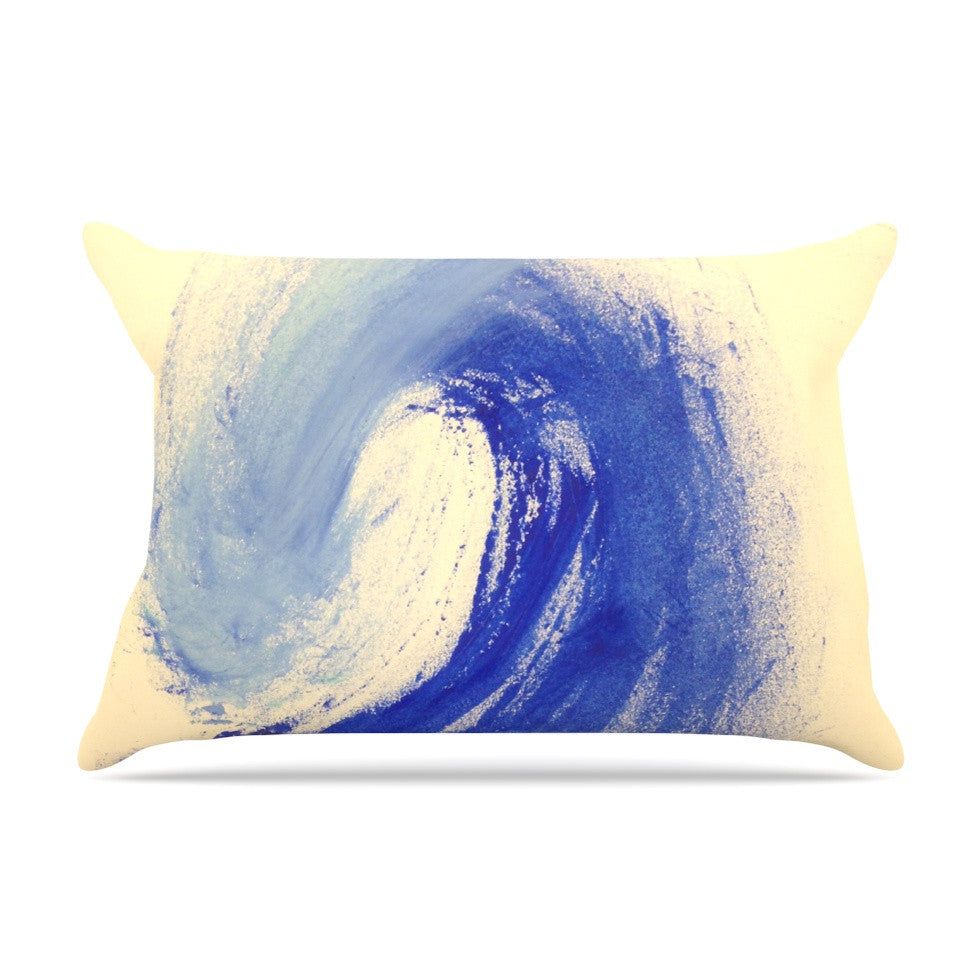 "Infinite Spray Art ""Waveology"" Tan Blue Pillow Sham - KESS InHouse"