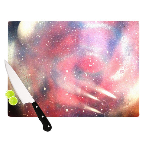 "Infinite Spray Art ""Cascade Swirl"" Red Pink Cutting Board - Outlet Item"