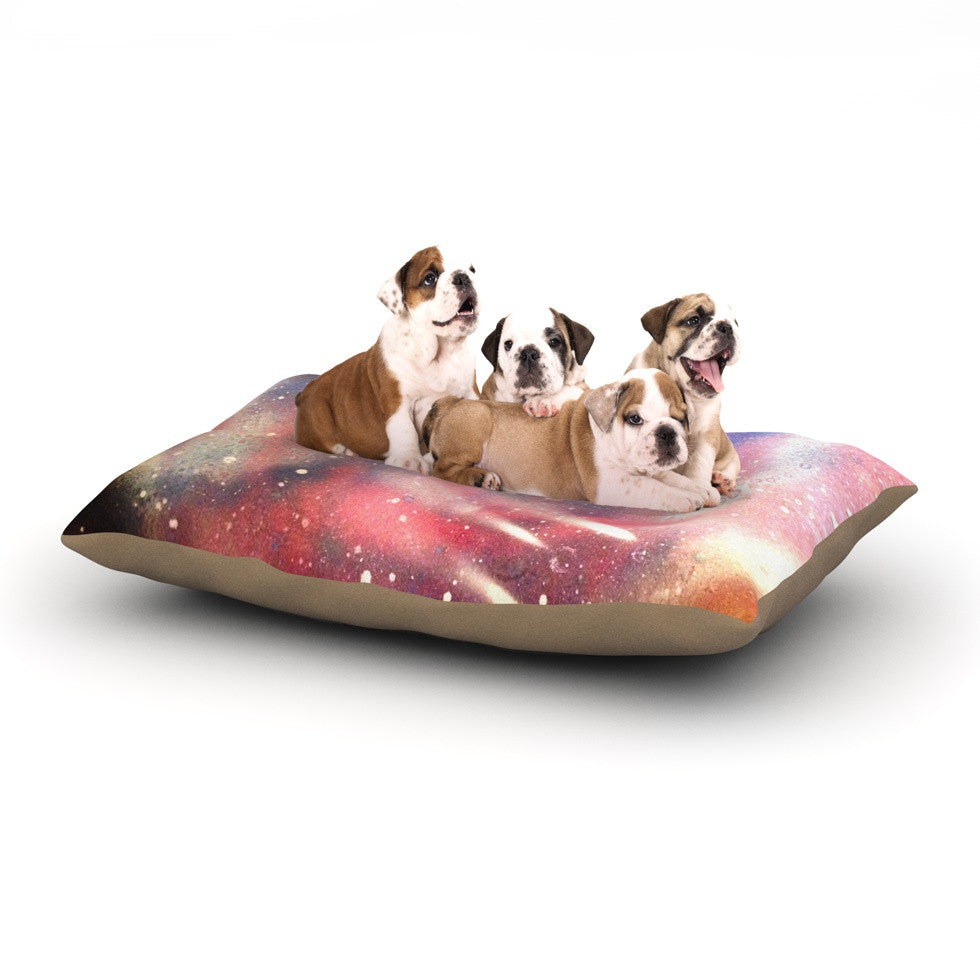 "Infinite Spray Art ""Cascade Swirl"" Red Pink Dog Bed - KESS InHouse  - 1"