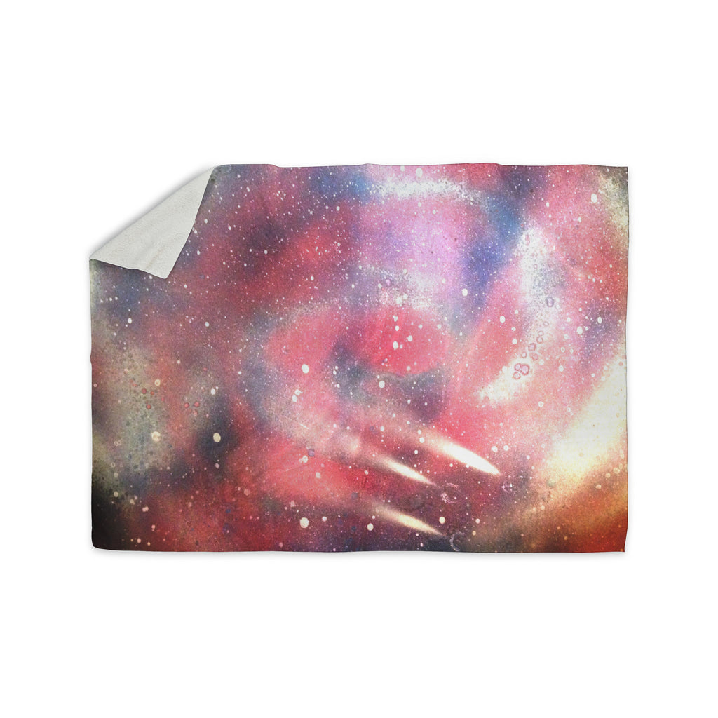 "Infinite Spray Art ""Cascade Swirl"" Red Pink Sherpa Blanket - KESS InHouse  - 1"