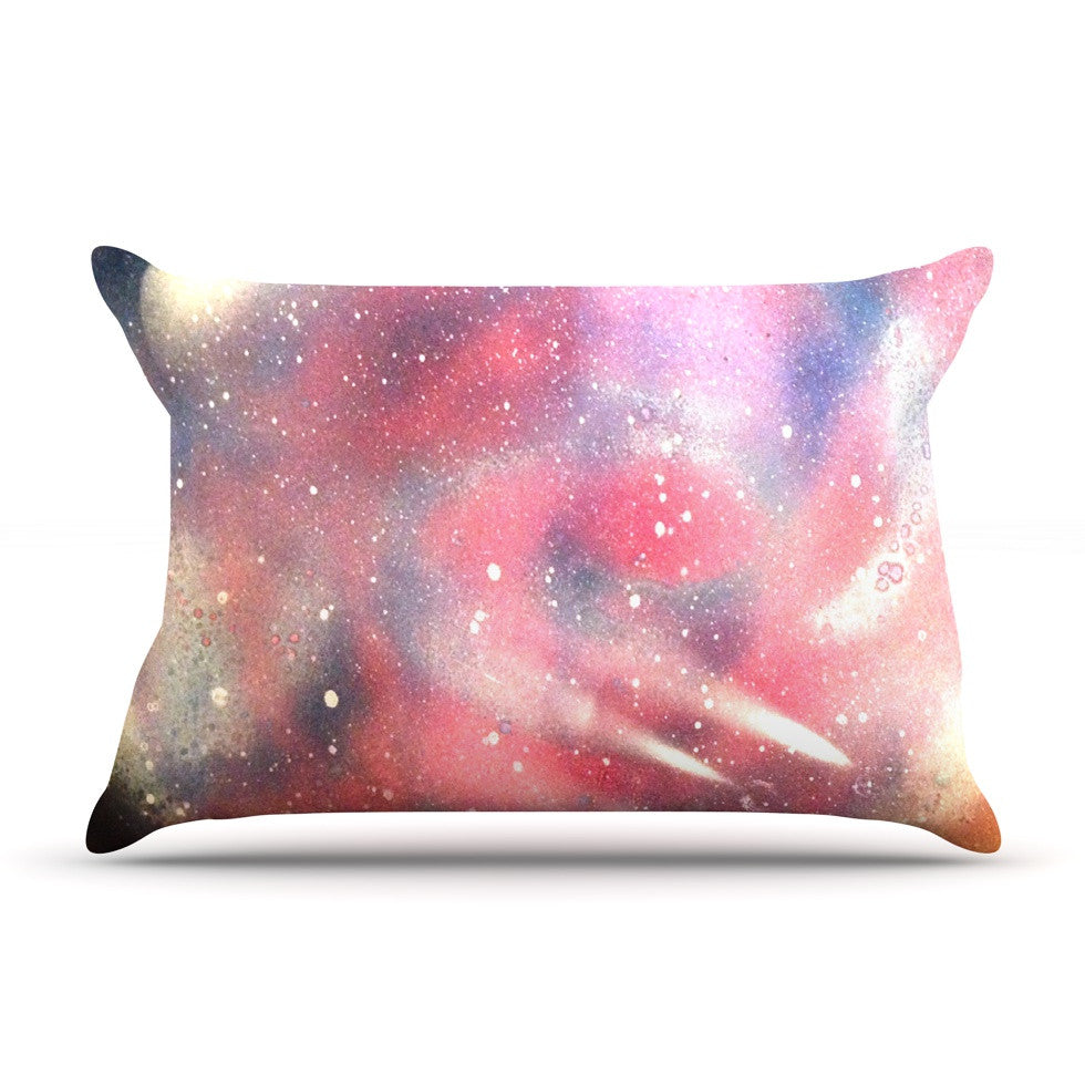 "Infinite Spray Art ""Cascade Swirl"" Red Pink Pillow Sham - KESS InHouse"